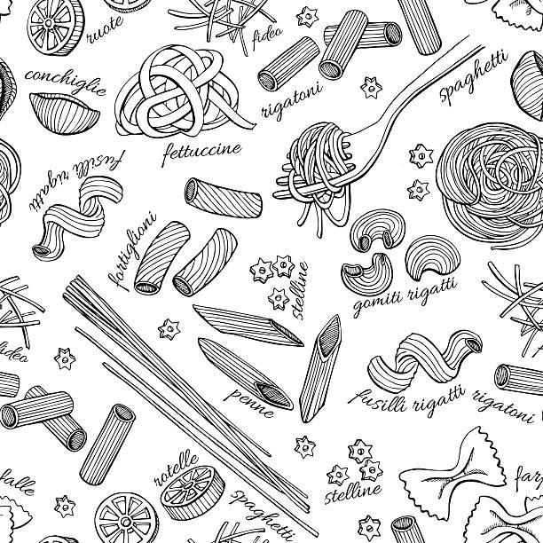 Vector hand drawn pasta pattern. Vintage line art illustration Vector hand drawn pasta pattern. Vintage line art illustration. cooking clipart stock illustrations