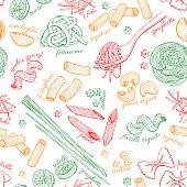 Vector hand drawn pasta pattern. Vintage line art illustration. Outline food background