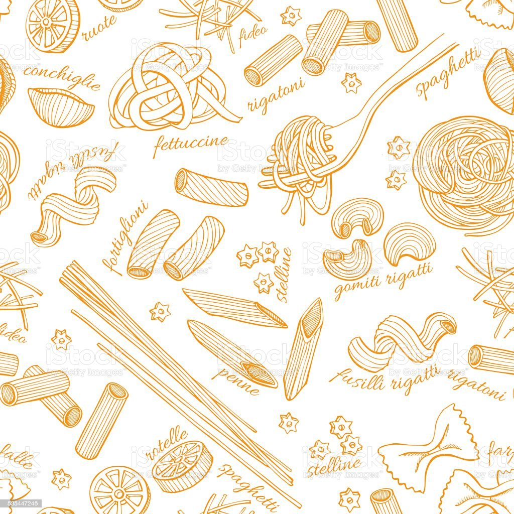 Vector hand drawn pasta pattern. Vintage line art illustration. vector art illustration