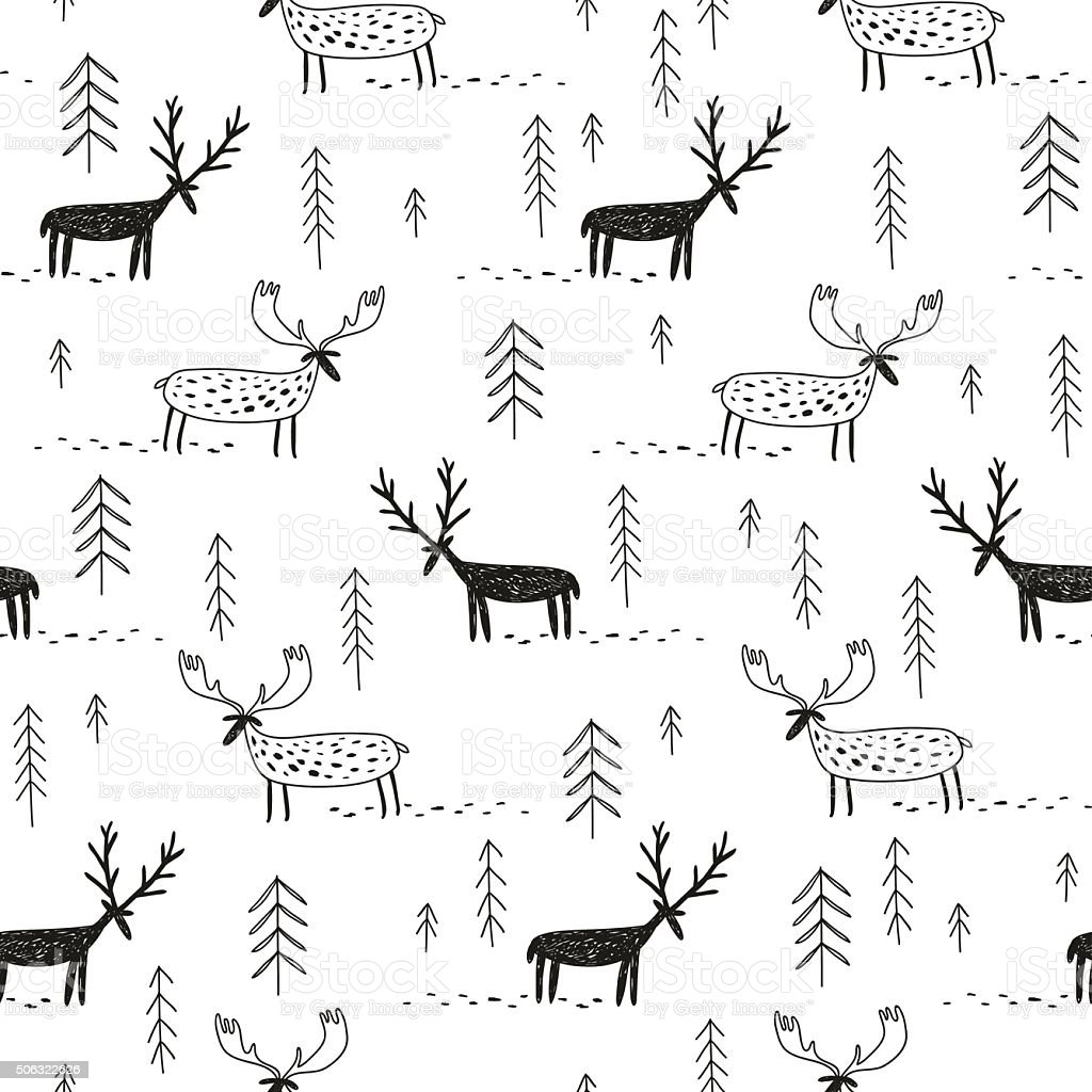 vector hand drawn pattern with deers moose and trees vector art illustration