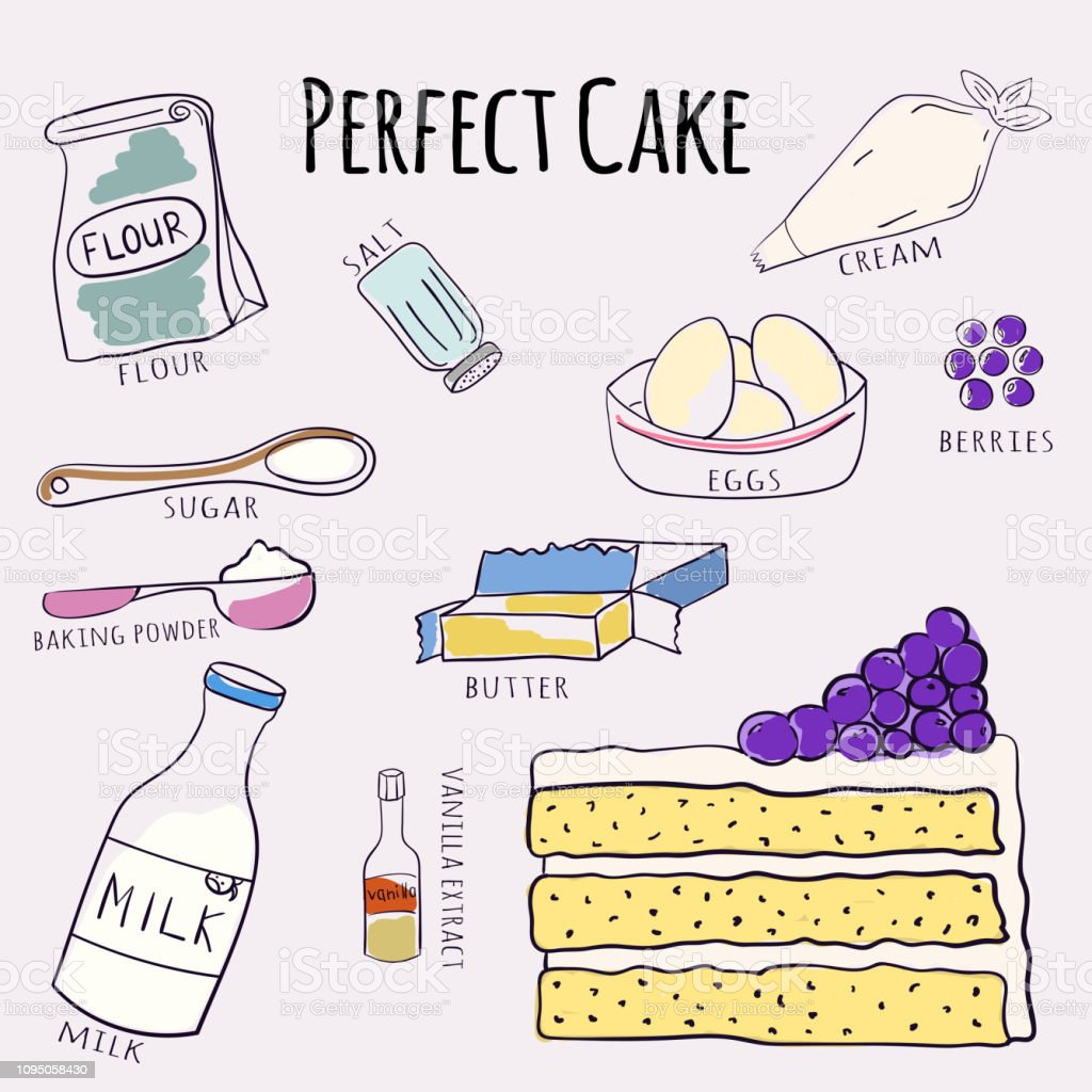 Vector hand drawn perfect cake recipe. Doodle illustration. Cake recipe in doodle style. Vector illustration. vector art illustration