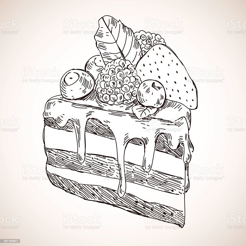 Vector hand drawn piece of cake with berries royalty-free stock vector art