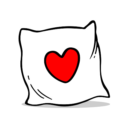 Vector hand drawn pillow with heart. Outline doodle icon.