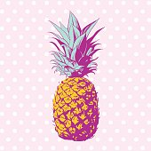Vector hand drawn pineapple with dotted background. Exotic tropical fruit. Pop art. Perfect for invitations, greeting cards, posters.Vector hand drawn pineapple with dotted background. Exotic tropical fruit. Pop art. Perfect for invitations, greeting cards, posters.