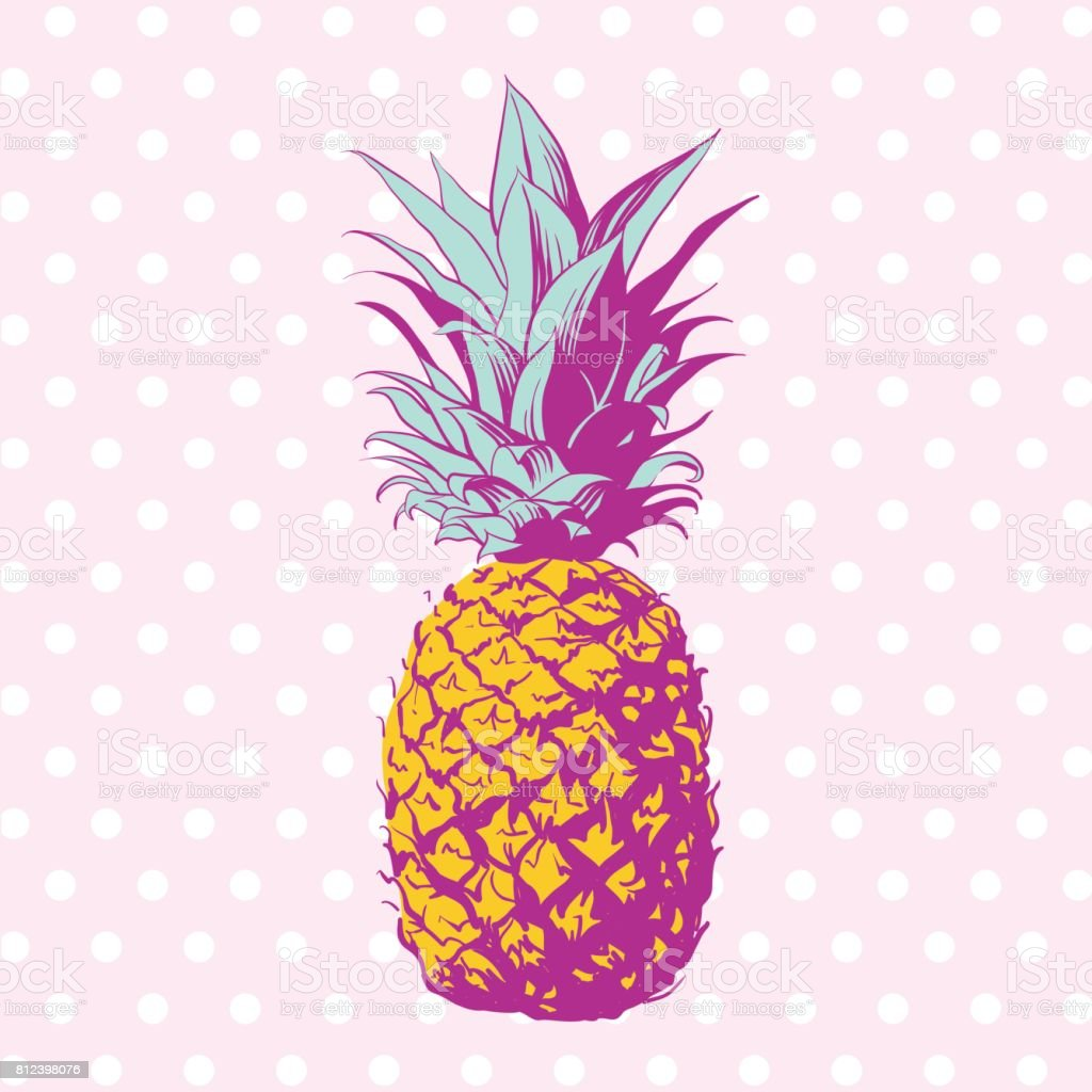 Vector hand drawn pineapple with dotted background. – artystyczna grafika wektorowa