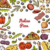 Vector hand drawn pizza ingridients and spices background with empty space in center for text. Sketch pizza with cheese and tomato ingredients illustration