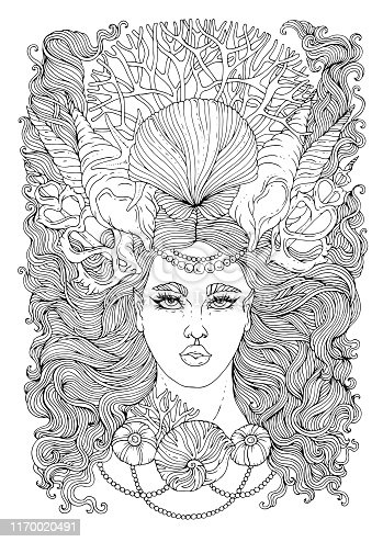 Vector hand drawn portrait of a mermaid girl with developing wavy hair with a crown and a necklace of seashells and corals. Ornamental Coloring page sea nymph. Fairy tale mythical characters t-shirts siren Isolated on a white background.