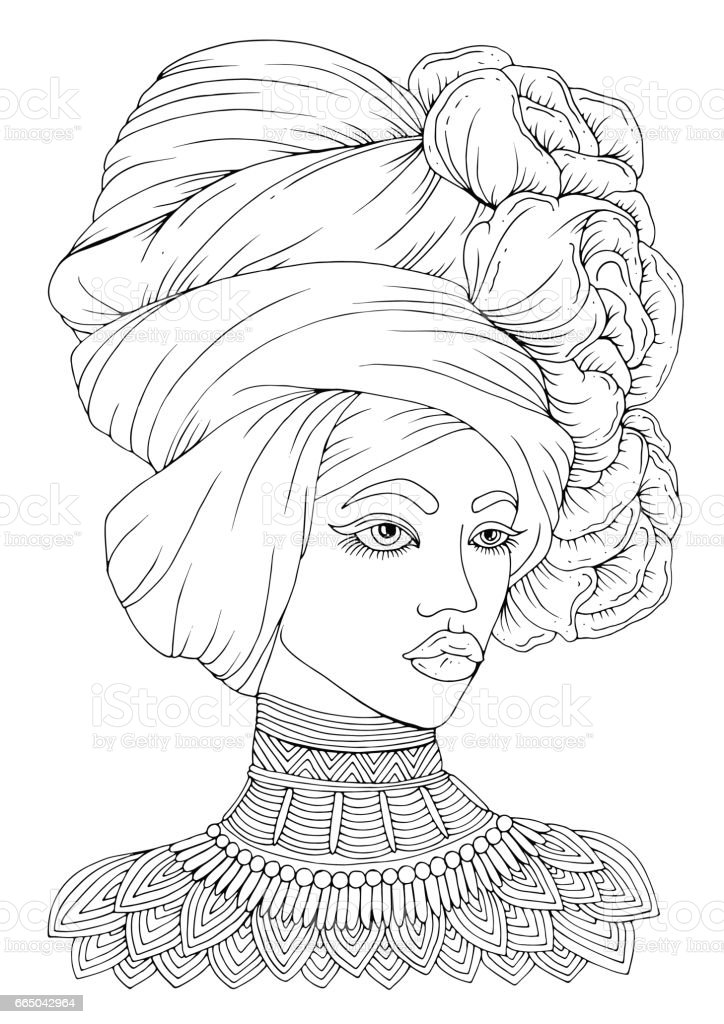 Vector hand drawn portrait of a young African-American woman vector art illustration