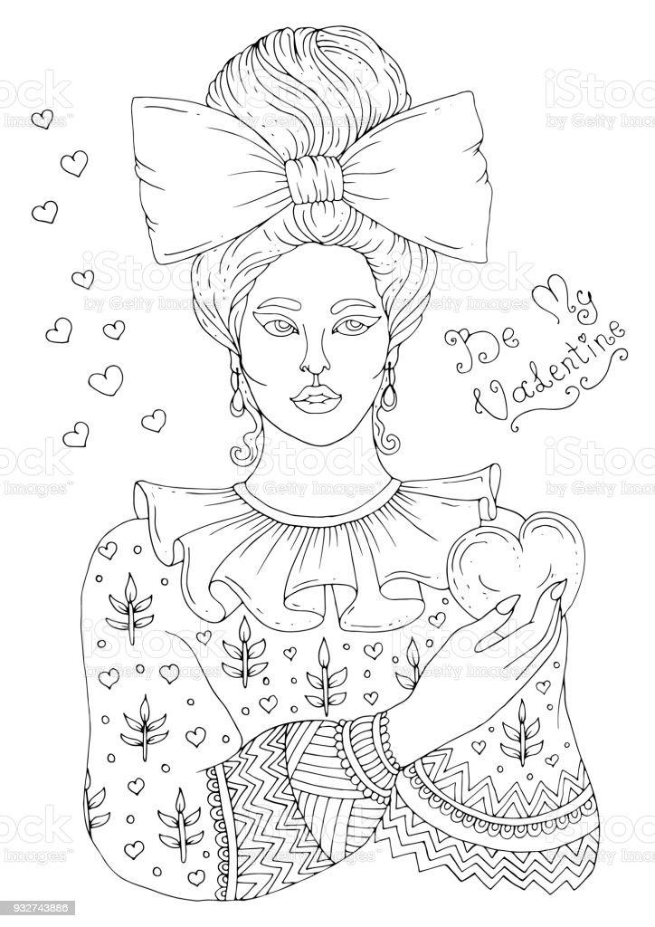 Vektor Handgezeichnete Portrait Eines Jungen Mädchens Mit Einem ...