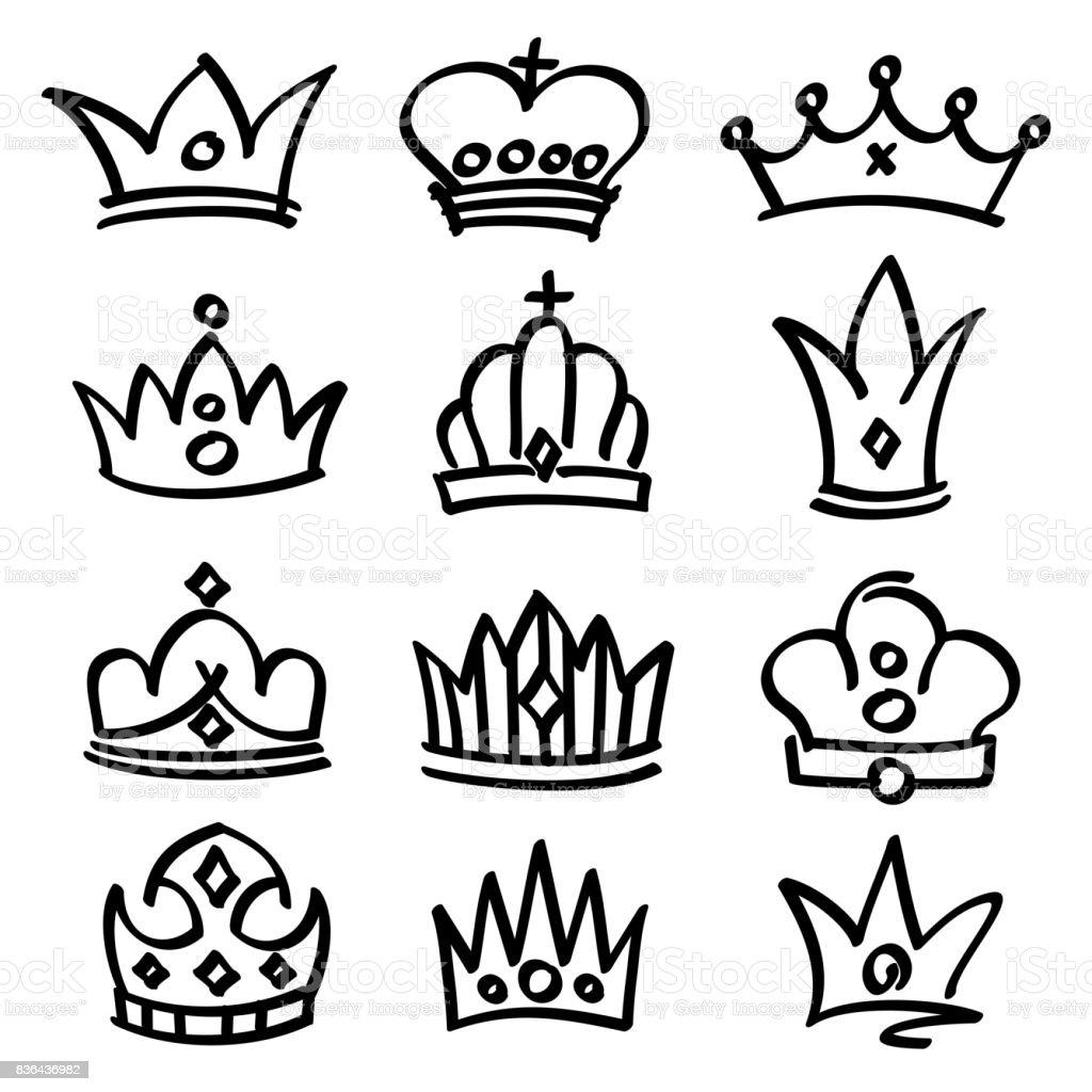 Vector hand drawn princess crowns. Sketch doodle royalty symbols