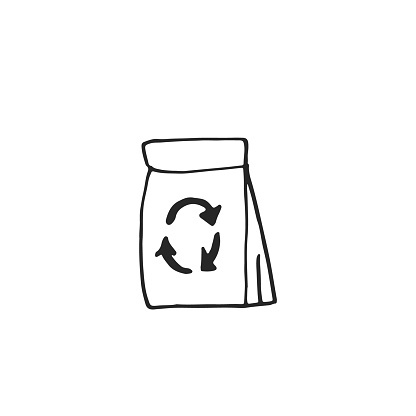 Vector hand drawn recycling shopping bag icon