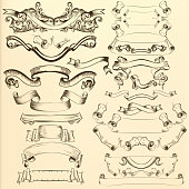 Vector hand drawn ribbons for design
