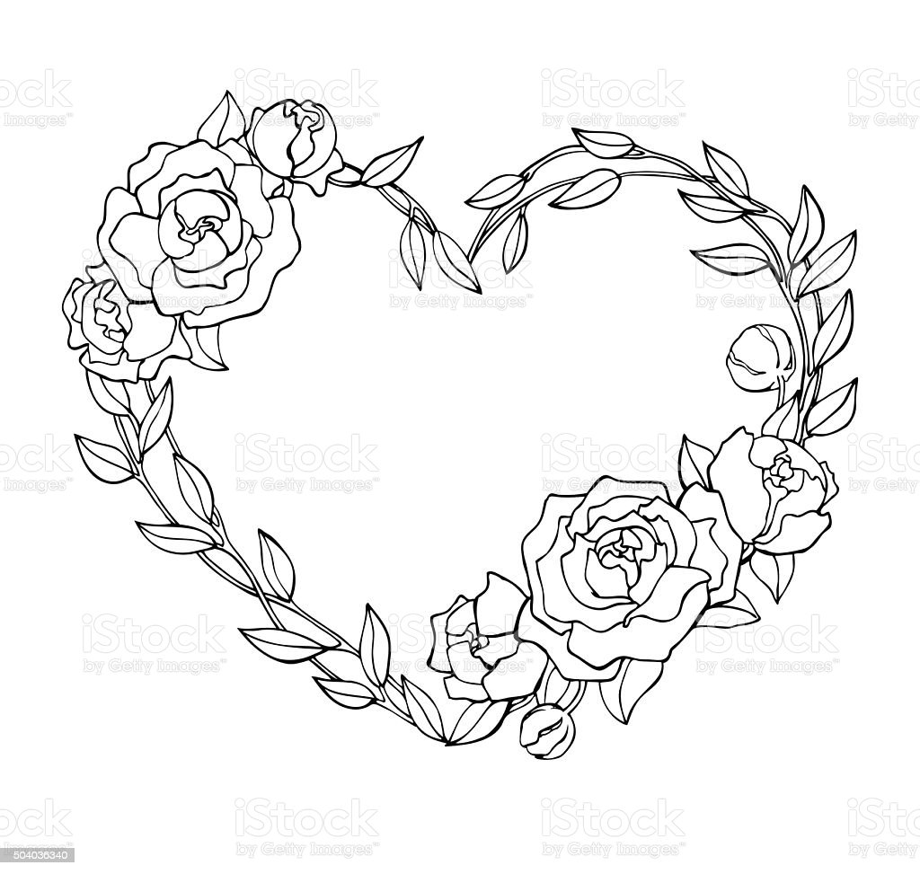 Vector Hand Drawn Rose Wreath In Heart Shape Illustration ...