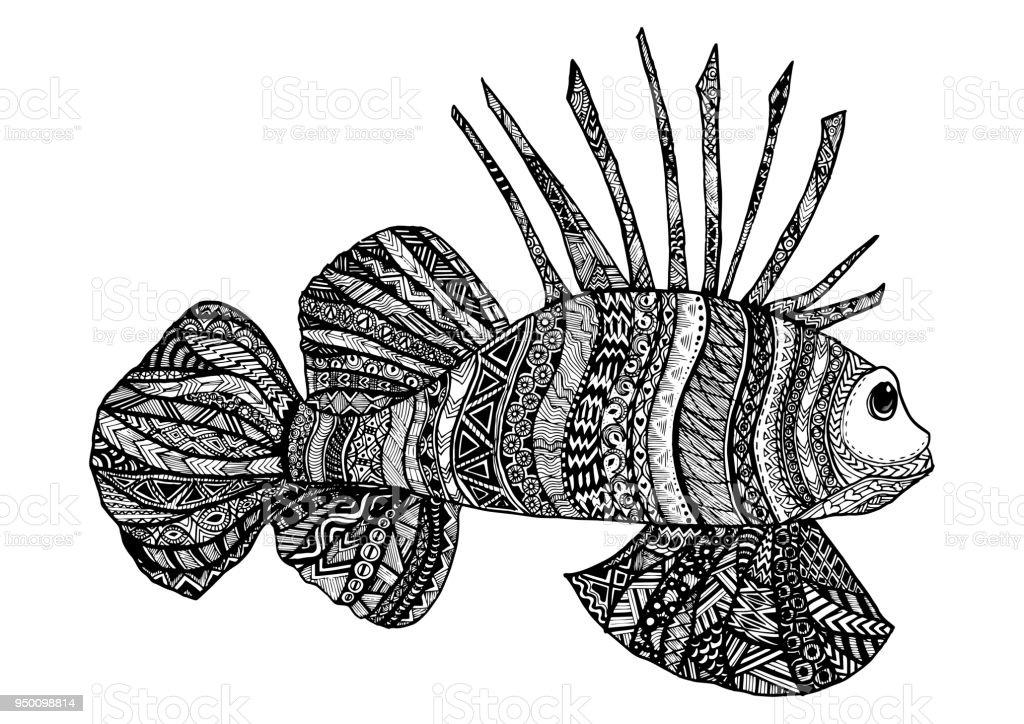 Ilustración De Vector Mano Dibujada Mar Peces Arte Blanco Y Negro