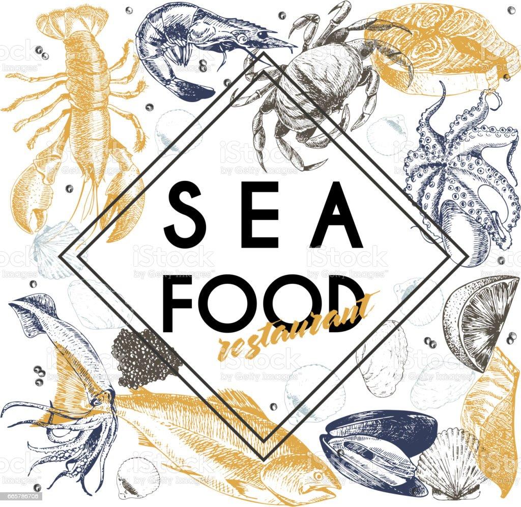 Vector hand drawn seafood banner.Lobster, salmon, crab, shrimp, ocotpus, squid, clams. vector art illustration