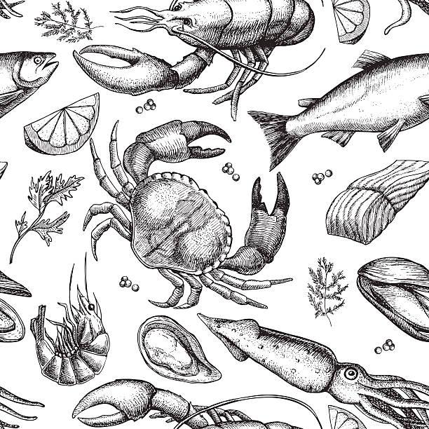 Vector hand drawn seafood pattern. Vintage illustration Vector hand drawn seafood pattern. Vintage illustration cooking drawings stock illustrations