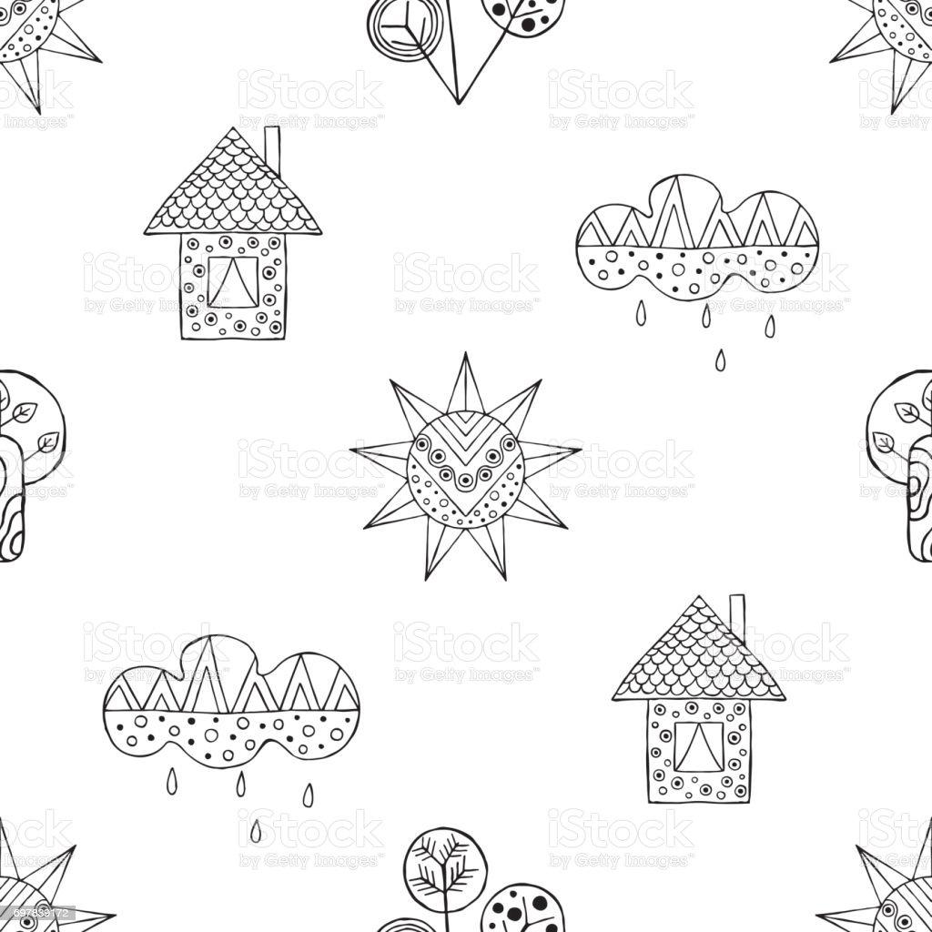 Vektor El Cekilmis Seamless Modeli Dekoratif Stilize Siyah Beyaz