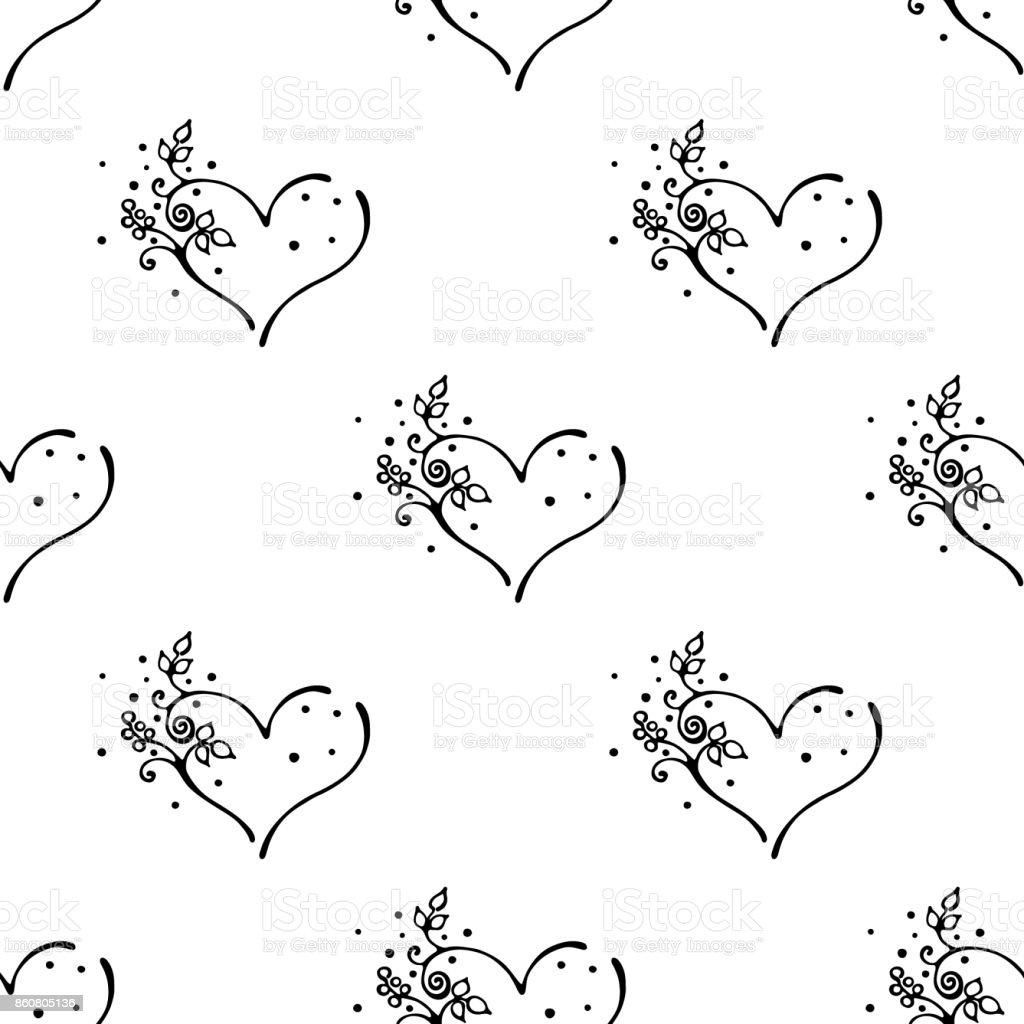 ベクトル手描きのシームレスなパターン装飾的な様式化された黒と白の