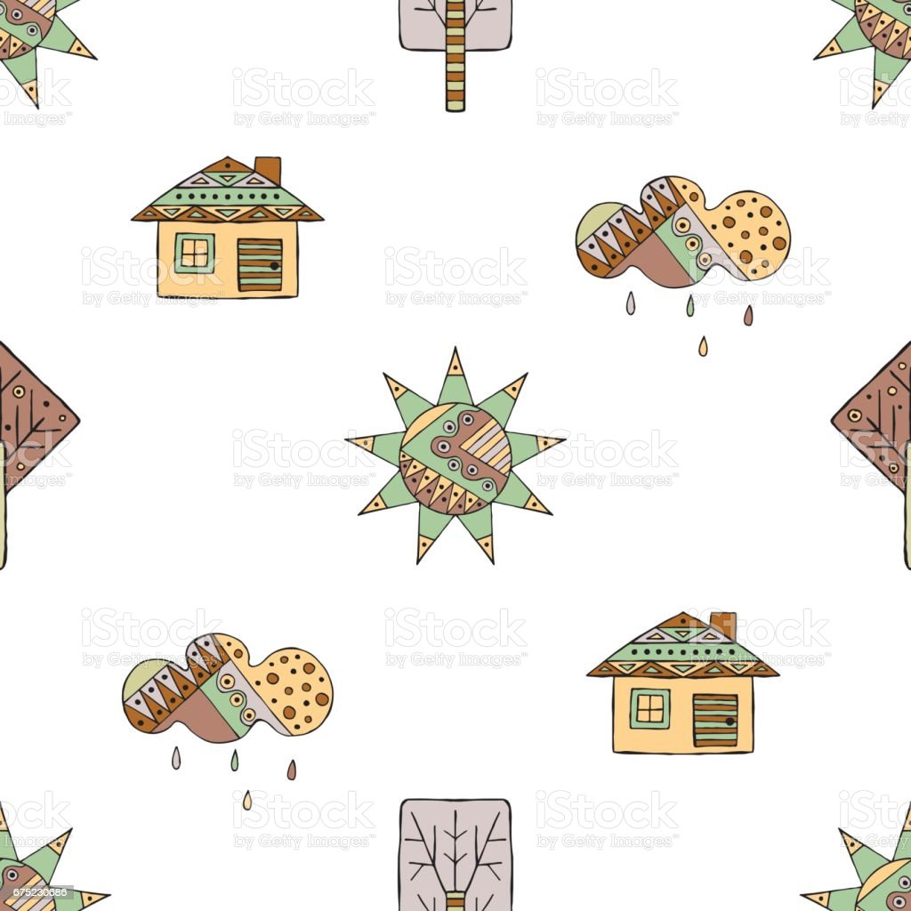 Vector hand drawn seamless pattern, decorative stylized childish house, tree, sun, cloud, rain Doodle style, graphic illustration Childlike cute cartoon, hand drawing in vintage brown colors. royalty-free vector hand drawn seamless pattern decorative stylized childish house tree sun cloud rain doodle style graphic illustration childlike cute cartoon hand drawing in vintage brown colors stock vector art & more images of art