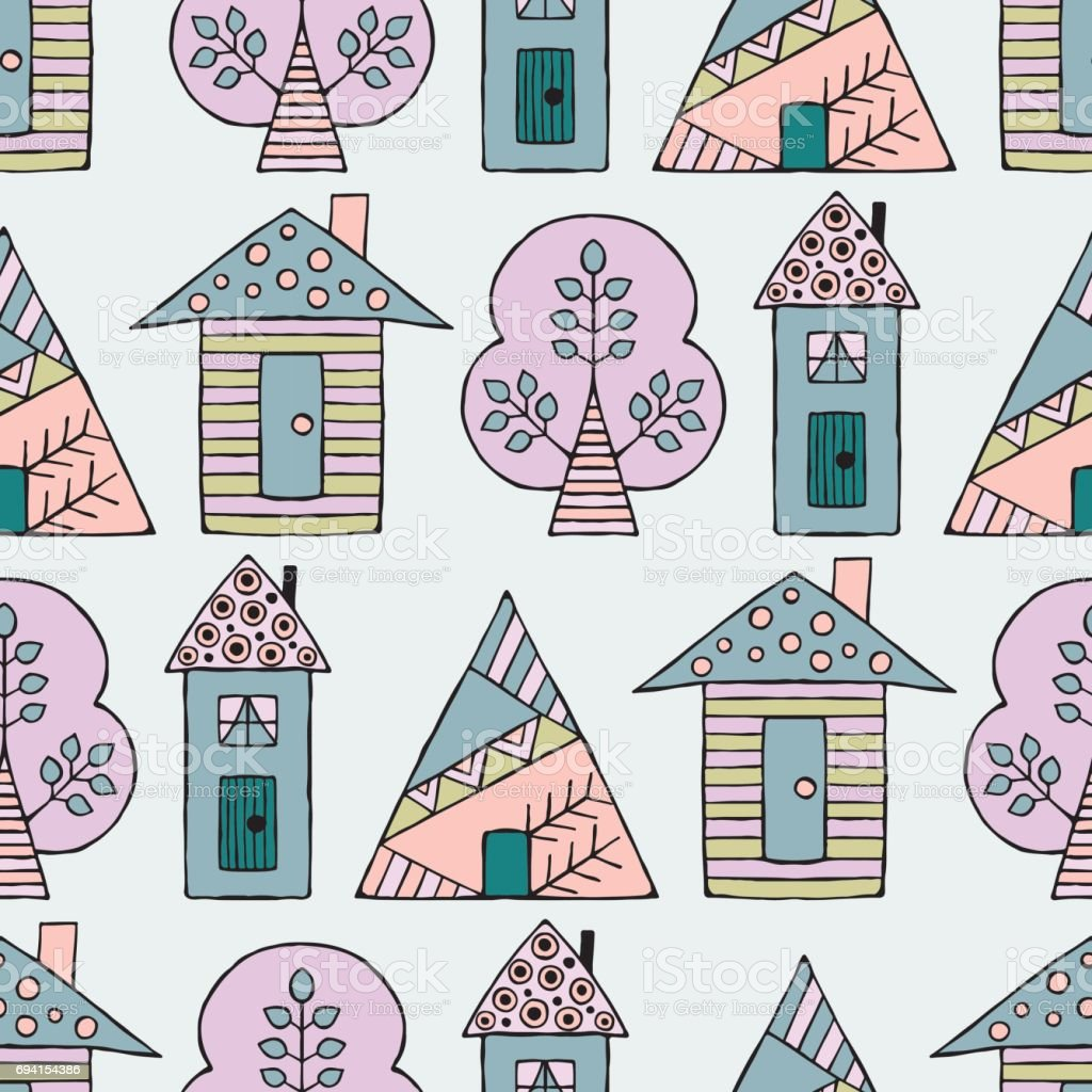 Vector hand drawn seamless pattern decorative stylized for House pattern