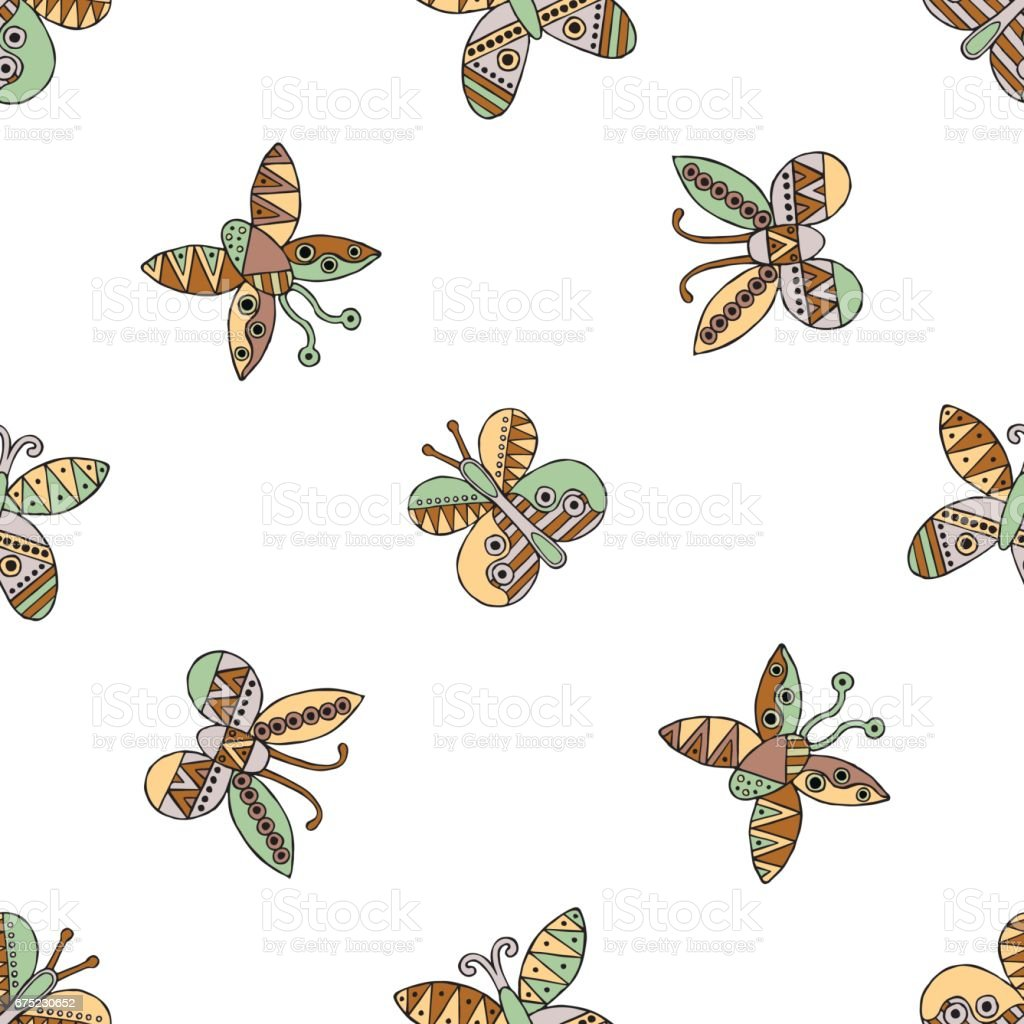 Vector hand drawn seamless pattern, decorative stylized childish butterflies. Doodle style, tribal graphic illustration Cute hand drawing in vintage colors. Series of doodle, cartoon, illustrations royalty-free vector hand drawn seamless pattern decorative stylized childish butterflies doodle style tribal graphic illustration cute hand drawing in vintage colors series of doodle cartoon illustrations stock vector art & more images of animal markings