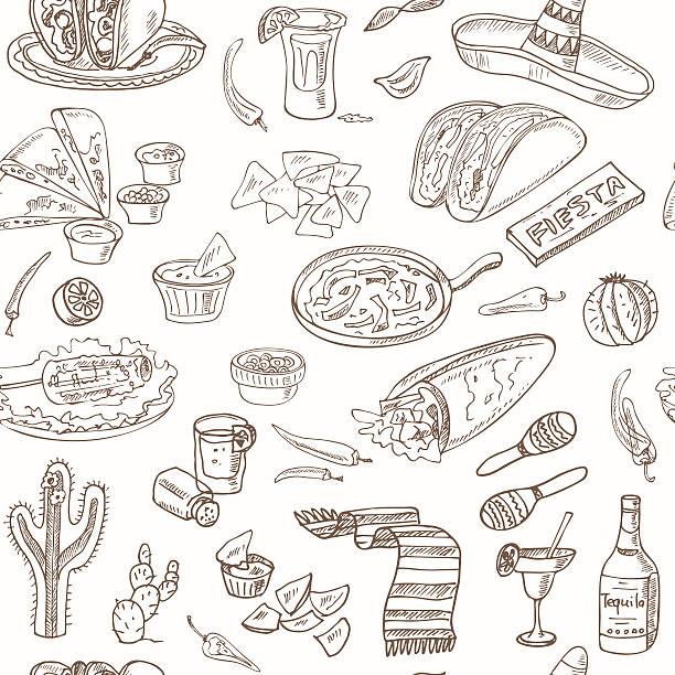 vektor handgezeichnet nahtlose musterung mexikanische küche - tortillas stock-grafiken, -clipart, -cartoons und -symbole