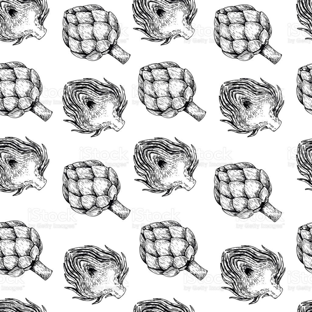 Vector hand drawn seamless pattern of artichokes. Farm vegetables. Engraved art. Organic sketched objects. restaurant, vector art illustration