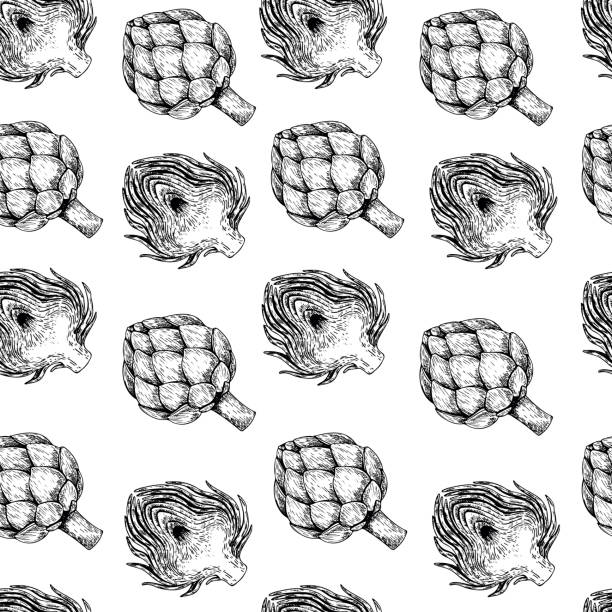 Vector hand drawn seamless pattern of artichokes. Farm vegetables. Engraved art. Organic sketched objects. restaurant, Vector hand drawn seamless pattern of artichokes. Farm vegetables. Engraved art. Organic sketched objects. restaurant, menu, grocery, market store party meal artichoke stock illustrations