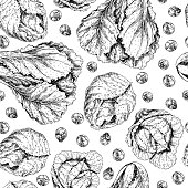 Vector hand drawn seamless pattern of chinese cabbage, brussels sprot and cabbage. Farm vegetables. Engraved art. Organic sketched objects. restaurant, menu, grocery, market store party meal