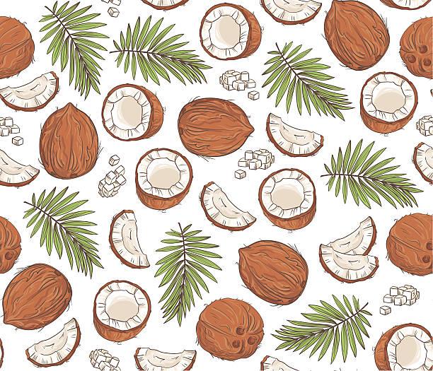 ilustrações de stock, clip art, desenhos animados e ícones de vetor desenhado à mão motivo homogéneo com cocos, folhas tropicais. - oleo palma
