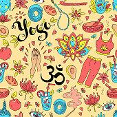 Vector hand drawn seamless pattern. Yoga equipment and accessori
