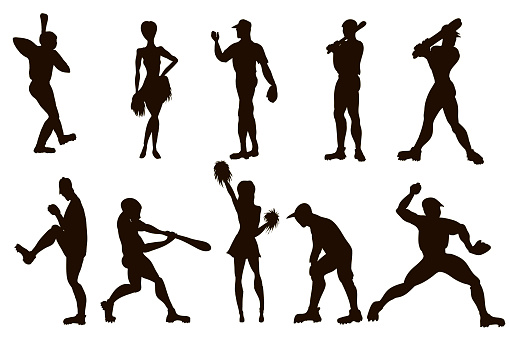 Vector hand drawn set of a baseball players and cheerleaders. Cute cartoon characters.