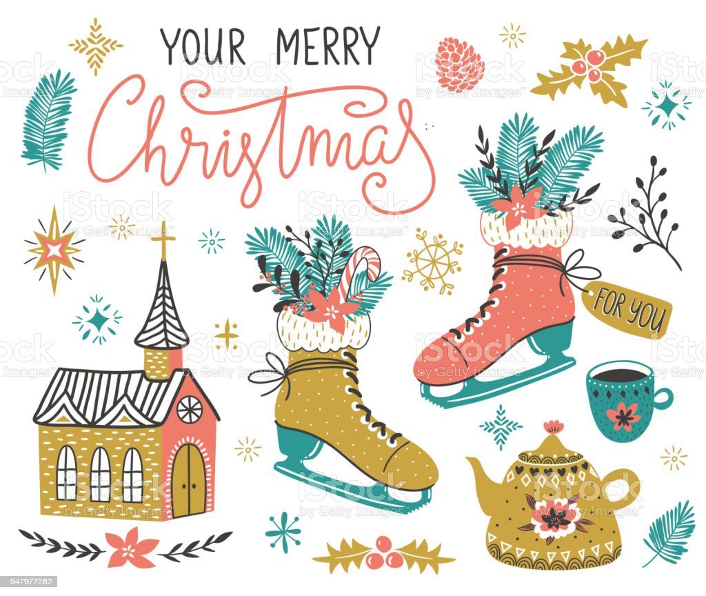 Vector hand drawn set of Christmas design elements with lettering - 'Your merry Christmas' in scandinavian style. Cute holiday illustration. vector art illustration