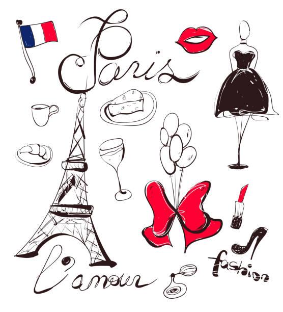 ilustrações, clipart, desenhos animados e ícones de vetorial mão desenhado conjunto de frança e paris símbolos - moda parisiense
