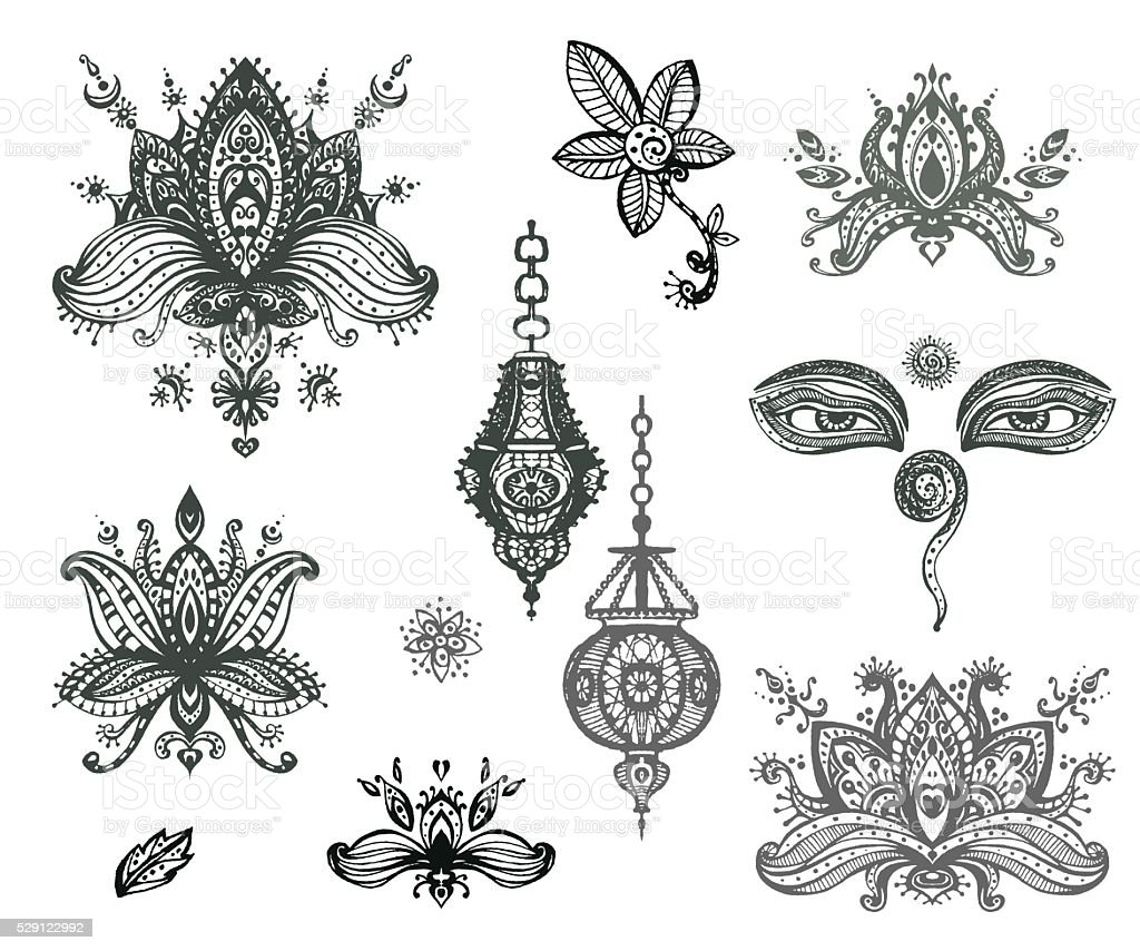 Vector hand drawn set of henna floral lotos elements