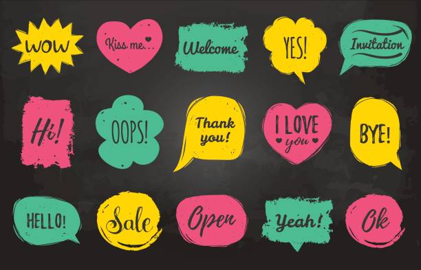 vector hand drawn set of speech bubbles with phrases hi, hello, i love you, yes, wow, welcome, open, kiss me, sale, oops etc. comic balloons collection. - kiss stock illustrations