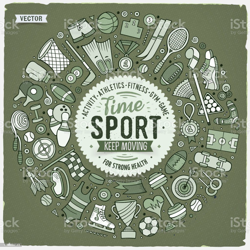 Vector hand drawn set of Sport cartoon doodle objects, symbols and...