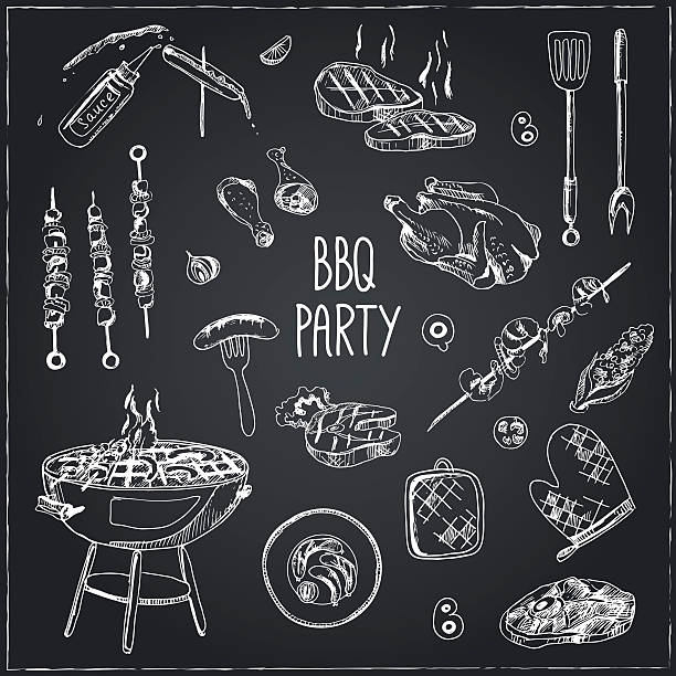 vector hand drawn set with barbecue tools. - grilling stock illustrations