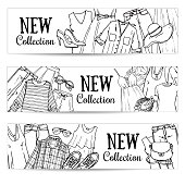 Vector hand drawn set with women's clothing. Spring-summer fashion collection black and white templates. Sketchy style concepts for web and graphic design, advertising, banners, leaflets and flyers.