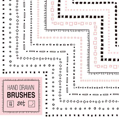 Vector hand drawn simple ornamental brushes set