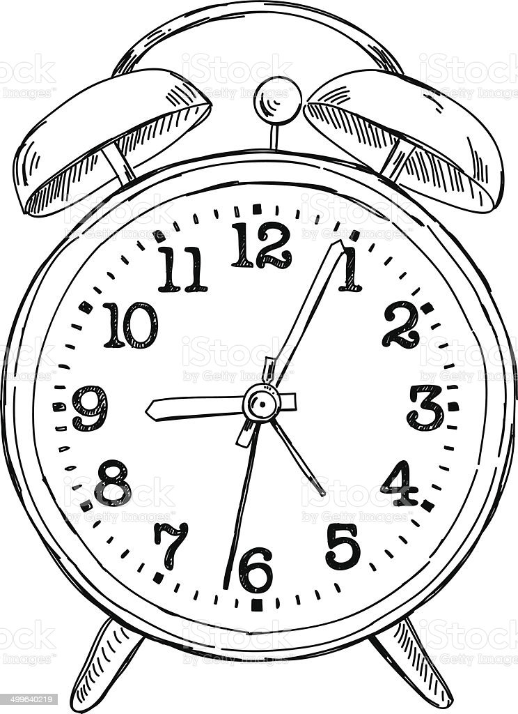 Vector hand drawn sketch alarm clock vector art illustration