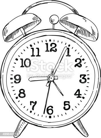 Vector Hand Drawn Sketch Alarm Clock Stock Vector Art