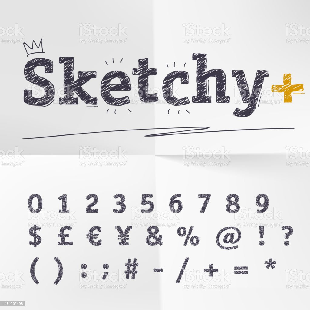 Vector Hand Drawn Sketch Letters Numbers Cueency And Symbols Stock