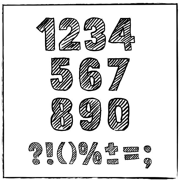 Vector hand drawn sketch numbers and signs. Ink scratched font. vector art illustration