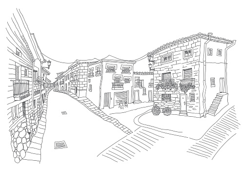 Vector hand drawn sketch of an ancient street building in the small European southern town. Single thin line doodle, Black and white illustration for book cover, tee shirt print, travel brochure, post card