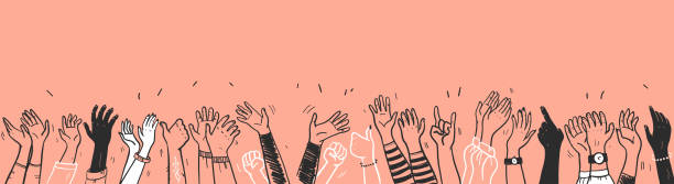 Vector hand drawn sketch style illustration with black colored human hands different skin colors greeting & waving isolated on light background. Crowd, party, sale concept. Vector hand drawn sketch style illustration with black colored human hands different skin colors greeting & waving isolated on light background. Crowd, party, sale concept. For advertising, packaging. greeting stock illustrations