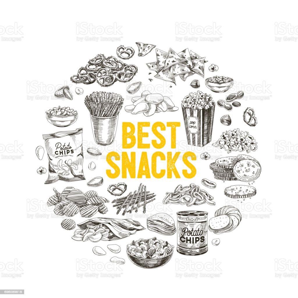 Vector hand drawn snack and junk food Illustration. vector art illustration