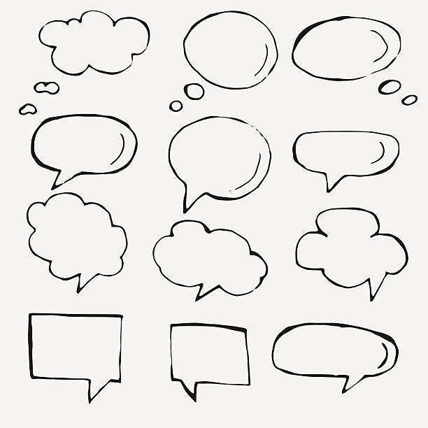 Vetorial mão desenhada discurso bolhas no branco - ilustração de arte em vetor