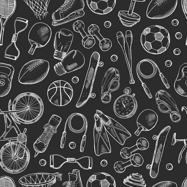 vektor handgezeichnete sport ausrüstung muster oder tafel hintergrund - sport stock-grafiken, -clipart, -cartoons und -symbole