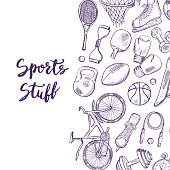 Vector hand drawn contoured sports equipment background illustration with place for text